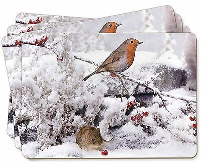Snow Mouse and Robin Print Picture Placemats in Gift Box, AMO-5P