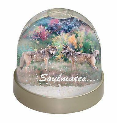 Wolves 'Soulmates' Sentiment Photo Snow Globe Waterball Stocking Fill, SOUL-84GL