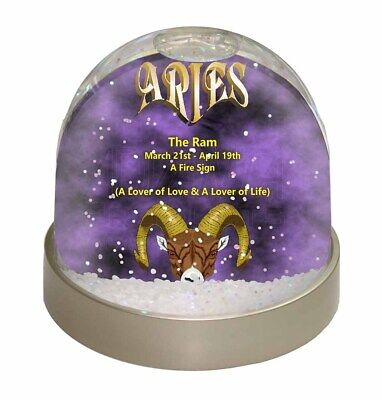 Aries Astrology Star Sign Birthday Gift Photo Snow Globe Waterball Stoc, ZOD-1GL