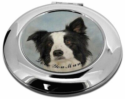 Border Collie Dog 'Love You Mum' Make-Up Round Compact Mirror Chr, AD-BC13lymCMR