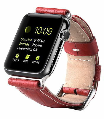 Genuine MELKCO PREMIUM Leather Strap for Apple Watch 38mm (RED CROCO) O1820