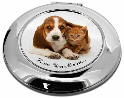 Basset and Cat 'Love You Mum' Make-Up Round Compact Mirror Christm, AD-BH1lymCMR