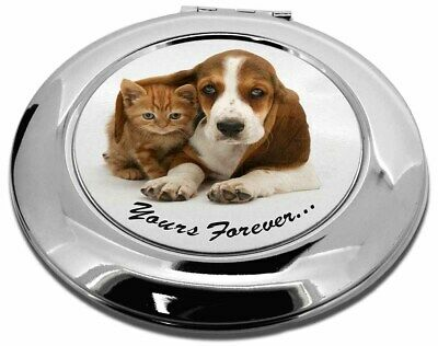 Basset Hound and Cat 'Yours Forever' Make-Up Round Compact Mirror Chr, AD-BH2CMR