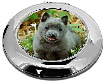 Blue Schipperke Dog Make-Up Round Compact Mirror Christmas Gift, AD-BS1CMR