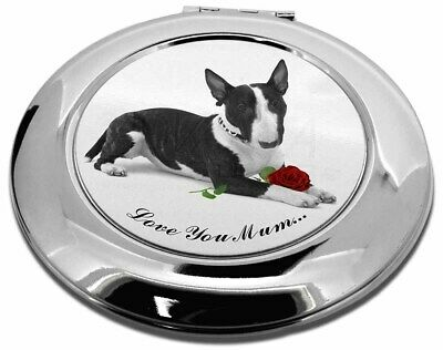 Bull Terrier (B+W) 'Love You Mum' Make-Up Round Compact Mirror , AD-BUT2R2lymCMR