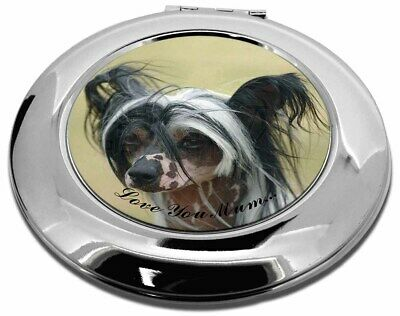 Chinese Crested Dog 'Love You Mum' Make-Up Round Compact Mirror C, AD-CHC2lymCMR