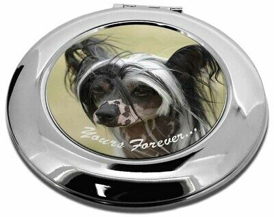 "Chinese Crested Dog ""Yours Forever..."" Make-Up Round Compact Mirror, AD-CHC2yCMR"