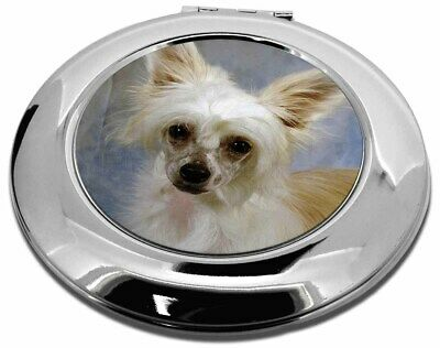 Chinese Crested Powder Puff Dog Make-Up Round Compact Mirror Christm, AD-CHC3CMR