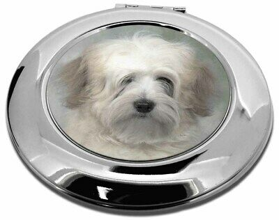 White Tibetan Terrier Dog Make-Up Round Compact Mirror Christmas Gift, AD-TT1CMR
