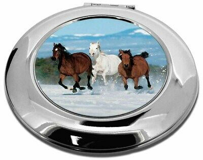Running Horses in Snow Make-Up Round Compact Mirror Christmas Gift, AH-1CMR