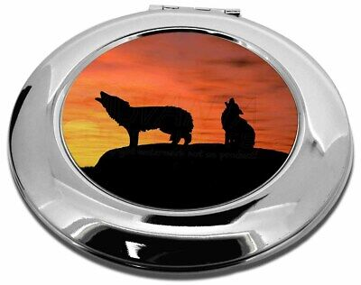 Sunset Wolves Make-Up Round Compact Mirror Christmas Gift, AW-5CMR