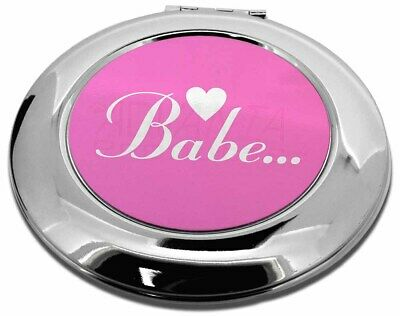 Gorgeous Hot Pink 'Babe' Make-Up Round Compact Mirror Christmas Gift, BABE-1CMR