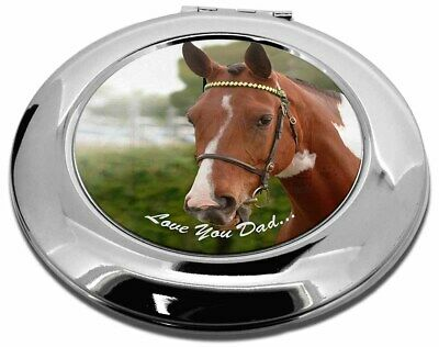 Horse 'Love You Dad' Sentiment Make-Up Round Compact Mirror Christma, DAD-141CMR