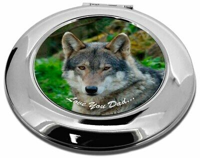 Wolf 'Love You Dad' Make-Up Round Compact Mirror Christmas Gift, DAD-153CMR