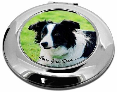 Border Collie Dog 'Love You Dad' Make-Up Round Compact Mirror Christm, DAD-18CMR