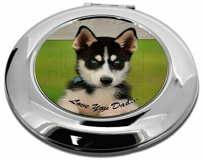 Husky Pup 'Love You Dad' Make-Up Round Compact Mirror Christmas Gift, DAD-56CMR