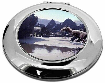 Dinosaur Print Make-Up Round Compact Mirror Christmas Gift, DIN-1CMR