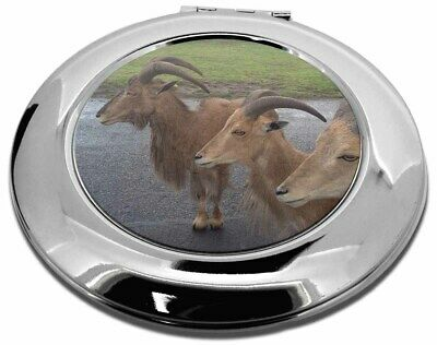Three Cheeky Goats Make-Up Round Compact Mirror Christmas Gift, GOAT-2CMR