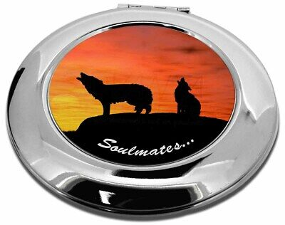 Sunset Wolves 'Soulmates' Make-Up Round Compact Mirror Christmas Gif, SOUL-82CMR