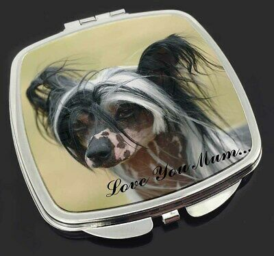 Chinese Crested Dog 'Love You Mum' Make-Up Compact Mirror Stocking, AD-CHC2lymCM
