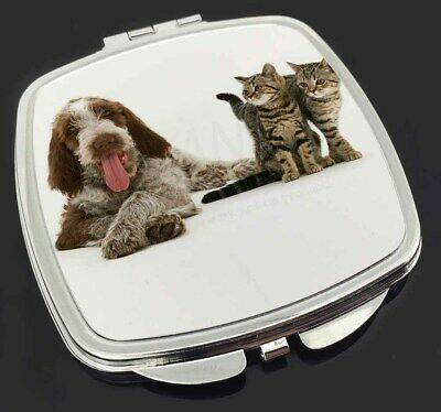 Italian Spinone Dog and Kittens Make-Up Compact Mirror Stocking Filler, AD-SP1CM