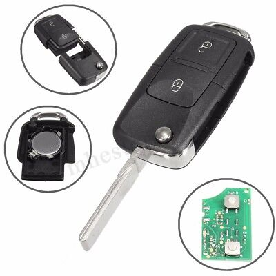 2 Button Flip Remote Key Fob Case w/ 433MHz ID48 Chips For VW # 1J0 959 753 AG