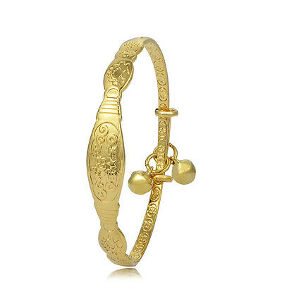 Toddler Jewelry Girls Charm 18K Yellow Gold Filled Bell Bangle Bracelet