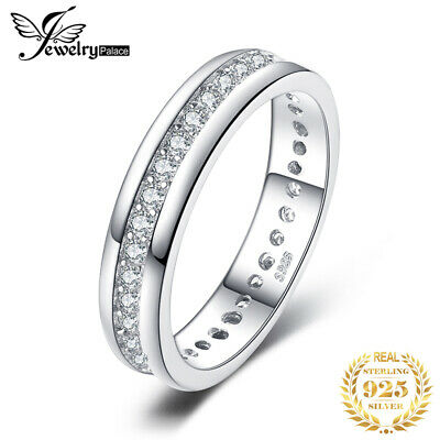 JewelryPalace Cubic Zirconia Channel Set Wedding Band Ring 925 Sterling Silver