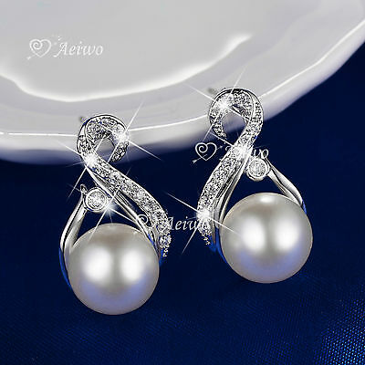 18K White Gold Gf Made With Swarovski Crystal Pearl Stud Earrings
