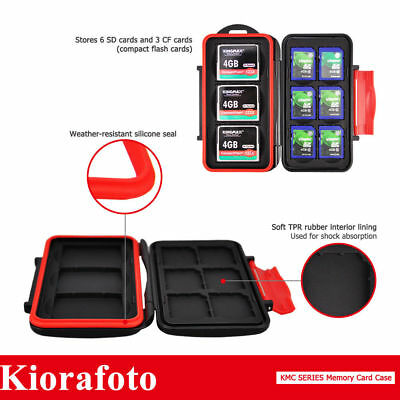 KIORA Water-Resistant Memory Card Case Storage With Carabiner For 6SD& 3CF Cards