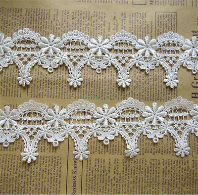 3 yd Vintage Flower Embroidered Lace Edge Trim Ribbon Wedding Applique DIY Craft