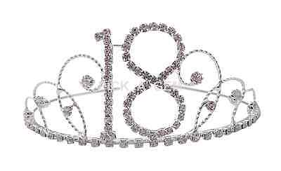 Silver 18th Birthday Party Tiara Crown Clear Diamante Crystal 18th Party New