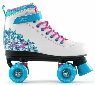 SFR Kids Vision II Girls Quad Roller Skates - White Blue *Free Delivery*