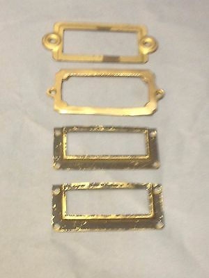 4 Antique  Vintage Brass Assorted Apothecary File Cabinet Card Holder Parts