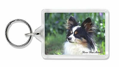 Papillon Dog 'Love You Mum' Photo Keyring Animal Gift, AD-PA62lymK
