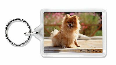 Pomeranian Dog 'Love You Mum' Photo Keyring Animal Gift, AD-PO89lymK