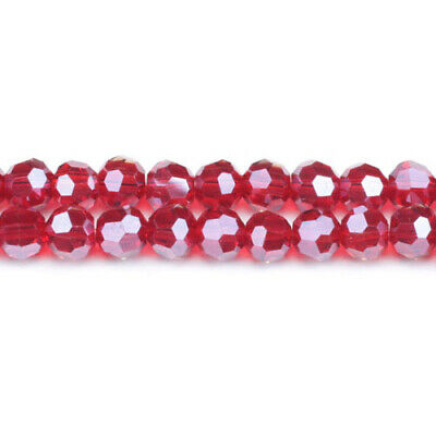 Strand 70+  Dark Red Czech Crystal Glass 8mm Faceted Round Beads GC3553-3
