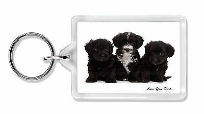 Yorkipoo Pups 'Love You Dad' Photo Keyring Animal Gift, DAD-139K
