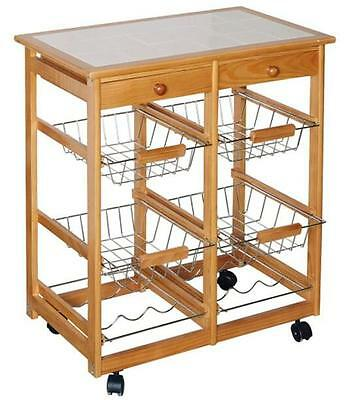 BN All With One Unit Storage Kitchen Cart Trolley With Shelves Baskets and Drawe