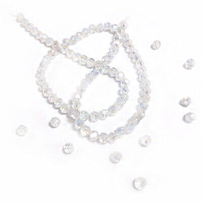 Czech Crystal Glass Faceted Round Beads 4mm Clear 90+  Pcs AB Art Hobby Crafts