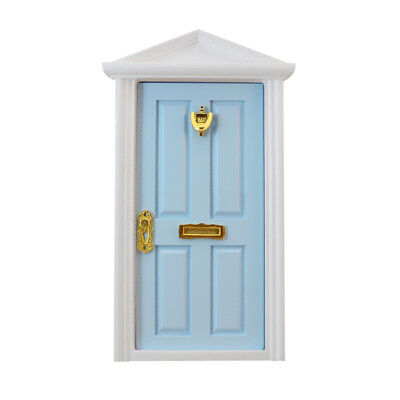 Blue Wooden Fairy Front Door with Hardware Dolls House Miniature Accessory