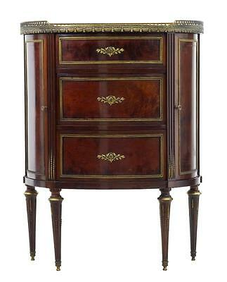 Late 19Th Century Mahogany Marble Top Demi Lune Cabinet