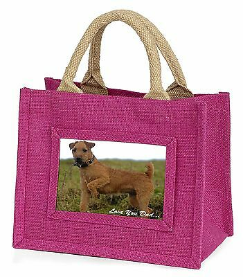 Lakeland Terrier 'Love You Dad' Little Girls Small Pink Shopping Bag , DAD-73BMP
