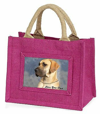 Great Dane 'Love You Dad' Little Girls Small Pink Shopping Bag Christ, DAD-35BMP