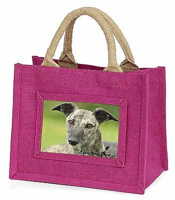 Lurcher Dog 'Love You Dad' Little Girls Small Pink Shopping Bag Chris, DAD-74BMP
