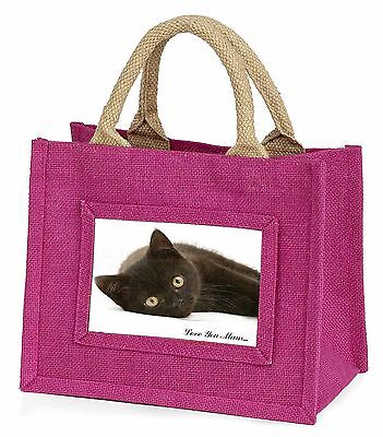 Black Cat 'Love You Mum' Little Girls Small Pink Shopping Bag Christm, MUM-C6BMP