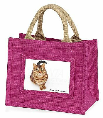 Tabby Cat 'Love You Mum' Little Girls Small Pink Shopping Bag Christm, MUM-C7BMP