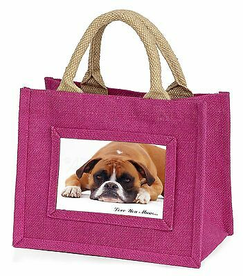 Boxer Dog 'Love You Mum' Little Girls Small Pink Shopping Bag Christm, MUM-D1BMP
