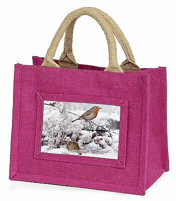 Snow Mouse and Robin Print Little Girls Small Pink Shopping Bag Christ, AMO-5BMP