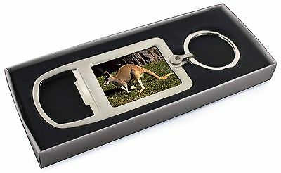 Kangaroo Chrome Metal Bottle Opener Keyring in Box Gift Idea, AK-2MBO